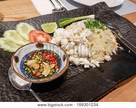 Fried Rice with Crab Meat Served with Fish Sauce