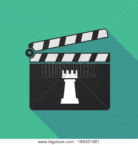 Long Shadow Clapper Board With A  Rook   Chess Figure