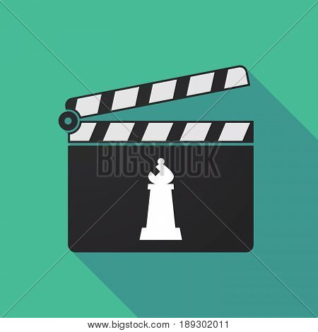 Long Shadow Clapper Board With A Bishop    Chess Figure