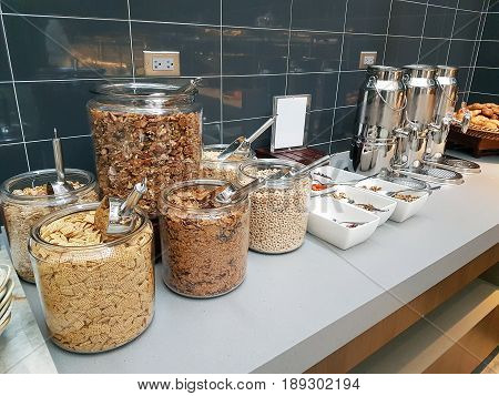 Choices of Cereal for Breakfast at Corner of Kitchen