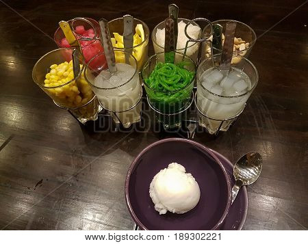 Coconut Ice Cream with Choices of Extra Topping; Corn Peanut Sticky Rice etc.