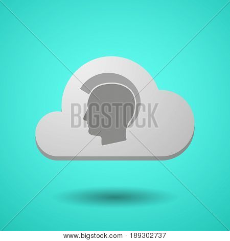 Vectorial Cloud With  A Male Punk Head Silhouette