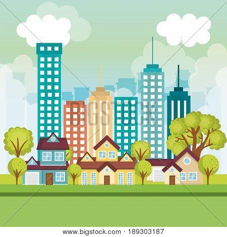 Neighborhood with houses fog and city skyline vector illustration