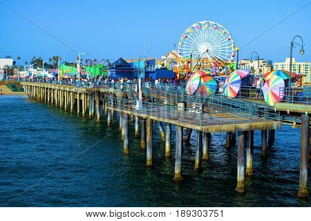 June 2, 2017 in Santa Monica, CA:  Restaurants, retail stores, and an Amusement Park on the historical Santa Monica Pier built in 1909 where the public can overlook the Pacific Ocean and enjoy recreational activities taken in Santa Monica, CA