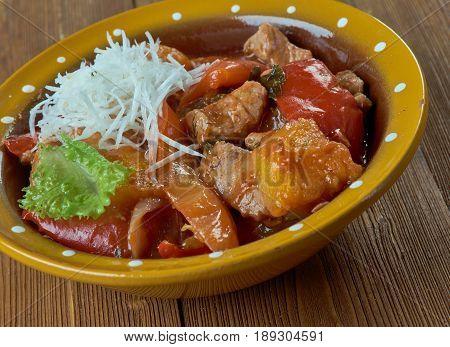 Pork Menudo - traditional Mexican soup. close up