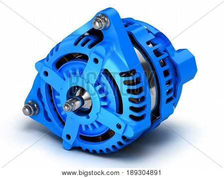 Car Alternator Isolated On A White Background.3D Illustration.