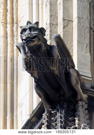 medieval gargoyle with crown on york minster england