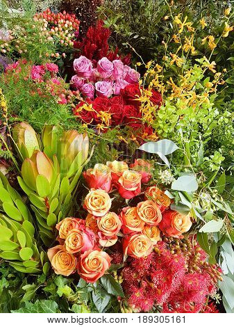 Colorful Roses Bouquet (Orange Red and Pink Roses) in Florist Shop