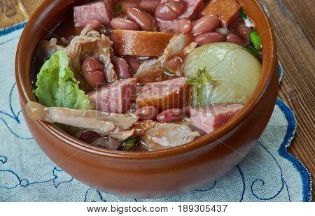 Crock Pot Ham and Bean Soup. close up