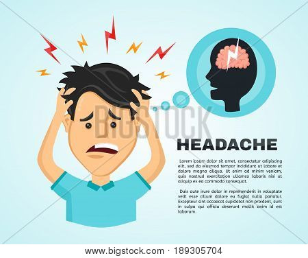 Vector flat man with a headache compassion fatigue a with a disease of the head an office worker holding his head with his hands and feels anguish. migraine health problems and pain head stress