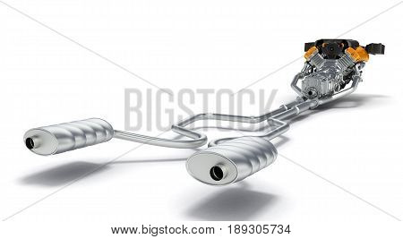 Exhaust Pipes System With Engine Isolated On White Background.3D Illustration.