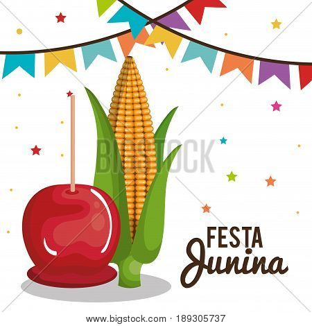 Festa junina design with caramel apple and corn over white background, Vector illsutration.