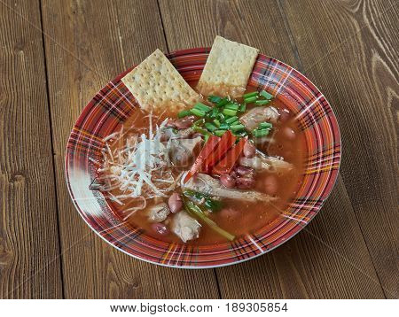Slow Cooker Chicken Enchilada Soup. close up