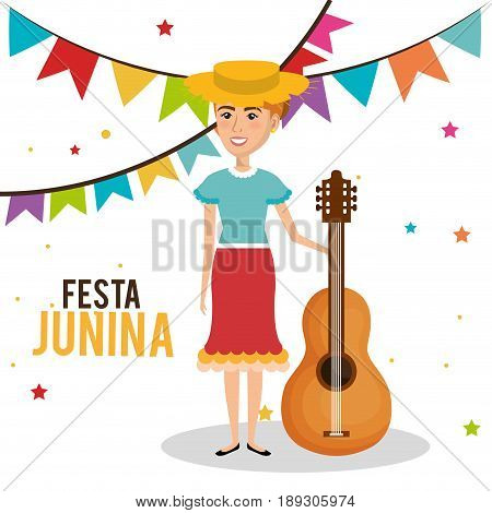 Woman celebrating festa junina with guitar and hat over white background. Vector illustration.