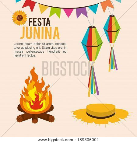Festa junina infographic with lanterns, fire and hat over beige background. Vector illustration.