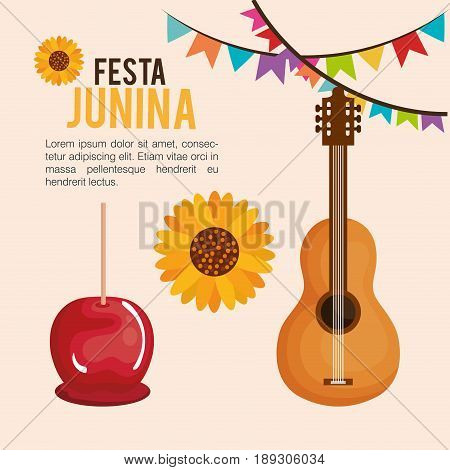Festa junina infographic with sunflower, caramel apple and guitar over beige background. Vector illustration.