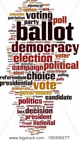 Ballot word cloud concept. Vector illustration on white