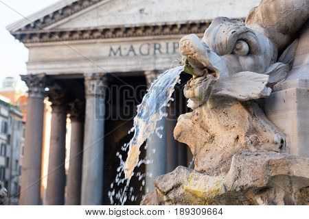 Detail of statue in Piazza Navona Rome