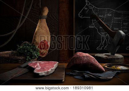 3D illustration of pieces of beef on a table with ham and axe