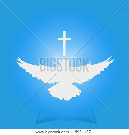Illustration for Christian Community: Dove as Holy spirit and Cross. Great as church logo, illustration for sermon, oration, lecture, or pentecost talk.