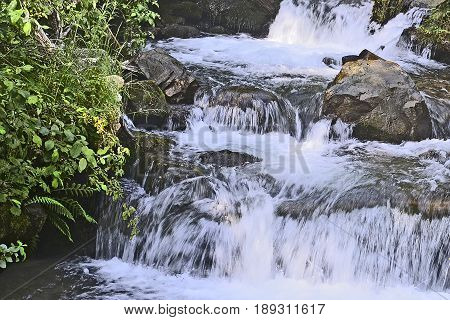 Turbulent mountainous water stream in stone riverbed at Ukraine Carpathians