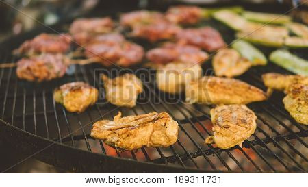 Cooking Chicken Grilled On The Grill. Grill The Fillets On The Grill Over The Coals Of The Close-up.