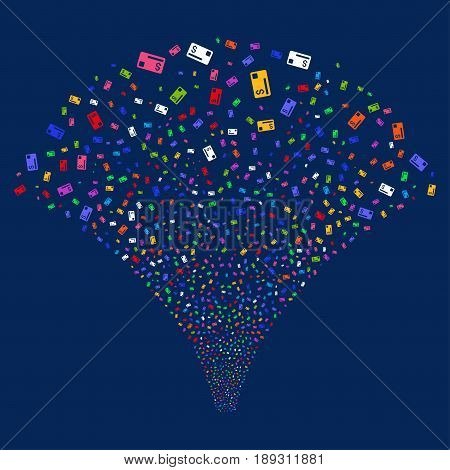 Credit Card salute stream. Vector illustration style is flat bright multicolored iconic symbols on a blue background. Object fireworks fountain created from random design elements.