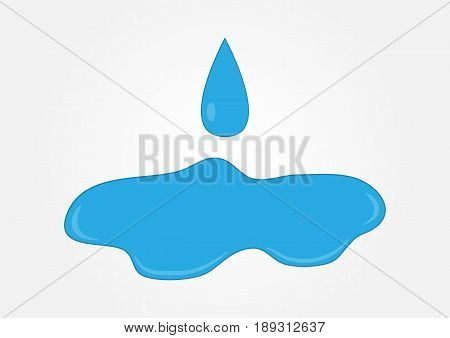 Blue water puddle with falling drop. Isolated logo. Vector illustration.