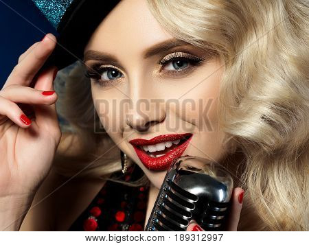 Portrait Of Beautiful Blond Female Singer