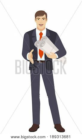 Businessman holding the project plans and gives a hand for a handshake. Full length portrait of businessman character in a flat style. Vector illustration.