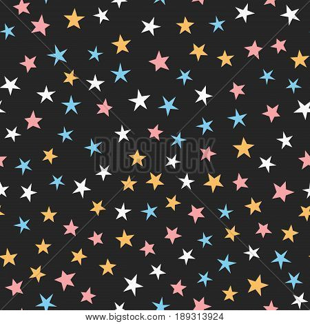 Colorful seamless pattern with stars. White blue pink orange black color. Cartoon vector illustration.