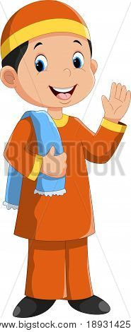 Vector illustration of young muslim boy cartoon isolated on white background