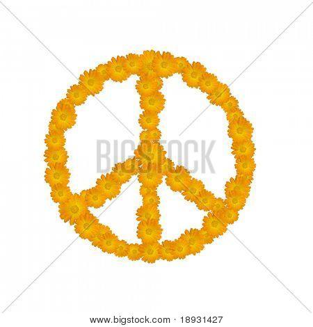 peace symbol, flowers