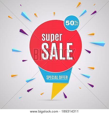 Incredible Wow Sale banner design template. Big super sale special offer, save up to 50 off. Vector illustration.