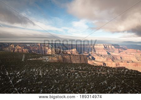 View Over The North And South Rim Part In Grand Canyon From The Helicopter