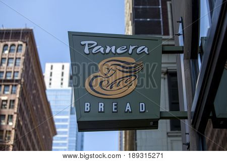 CHICAGO - June 1 2017: Panera Bread restaurant exterior sign. Panera Bread is a chain of bakery-cafe fast casual restaurants in the United States and Canada.