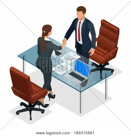 Businesspeople handshaking after negotiation or interview at office. Productive partnership concept. Constructive Business Confrontation isometric vector illustration.
