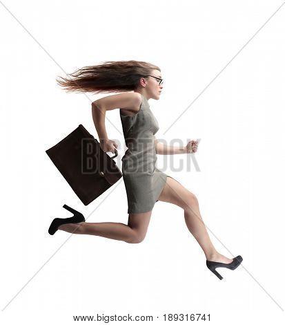 Elegant businesswoman running fast