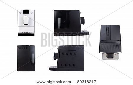 Coffee maker isolated front side rear texture for your object. coffee maker isolated machine texture object 3d front concept