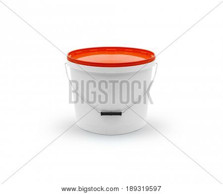 Plastic pail with orange lid on white background, Clipping path included