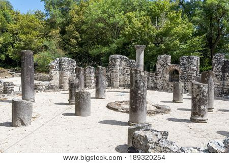 Ruins of the Baptistery in Butrint, Albania. Butrint was one of the biggest roman settlements in Balkan region.