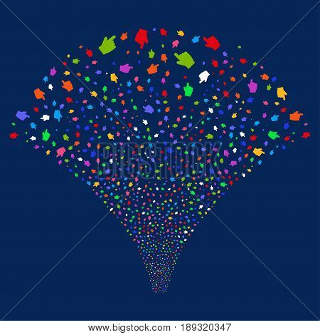 Index Finger salute stream. Vector illustration style is flat bright multicolored iconic symbols on a blue background. Object stream fountain constructed from random pictograms.