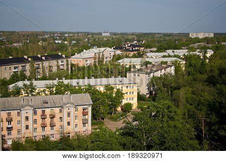 View from the roof to the old district of Voronezh. Old Soviet low-rise houses built by German prisoners after World War II in the late 40's and early 50's. Voronezh, Russia