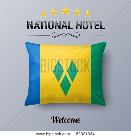 Realistic Pillow and Flag of Saint Vincent and the Grenadines as Symbol National Hotel. Flag Pillow Cover with flag colors