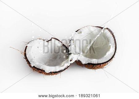 Coconuts with milk splash. Healthy food. Ripe coconut