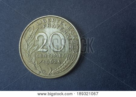 Twenty Centimes Of Franc France 1962 Tail Coin, Vintage Old, Difficult And Rare To Find.