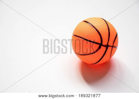 Basketball child toy placed on white background
