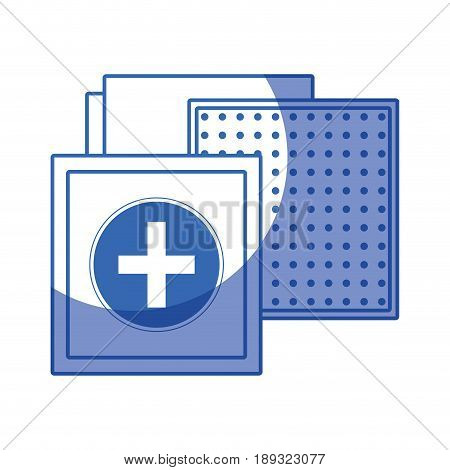silhouette aid band to cure the wound in the body vector illustration