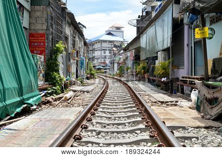 Railroad Tracks At Rom Hup Market