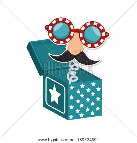 joke box with cartoon face icon over white background colorful design vector illustration